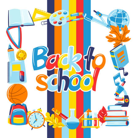 School background with education items. Illustration of colorful supplies and stationery. Ilustrace