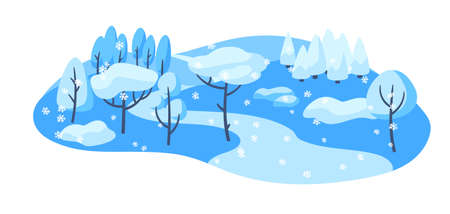 Winter landscape with forest, trees and bushes. Seasonal nature illustration.
