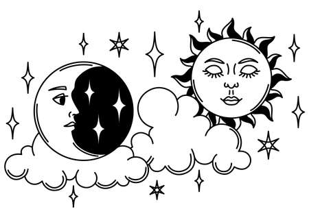 Magic illustration with sun and moon. Mystic, alchemy, spirituality and tattoo art. Isolated vector print. Black and white magical simbol.