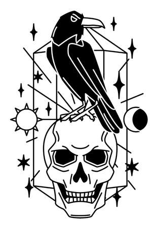 Magic illustration with raven and skull. Mystic, alchemy, spirituality and tattoo art. Isolated vector print. Black and white magical simbol.