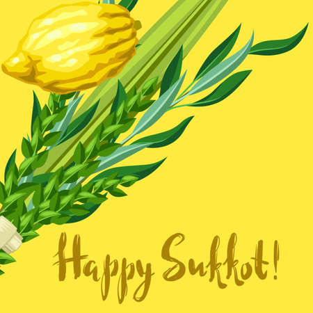 Happy Sukkot greeting card. Holiday background with Jewish festival traditional symbols. Four species etrog, lulav, willow and myrtle branches.