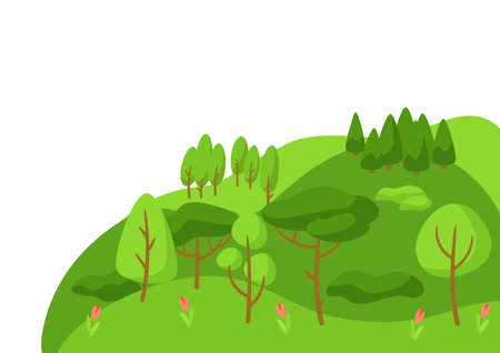 Spring landscape with forest, trees and bushes. Seasonal nature illustration.