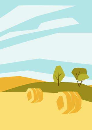 Illustration of harvested agricultural field. Autumn landscape with trees and hills. Seasonal nature background. Ilustrace