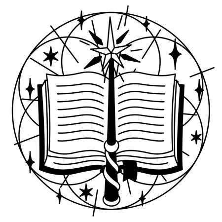 Illustration with spell book and magic wand. Mystic, alchemy, spirituality and tattoo art. Isolated vector print. Black and white magical simbol.