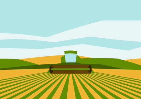 Combine harvester on wheat field. Agricultural illustration farm rural landscape. Seasonal nature background. Ilustrace