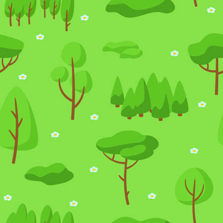 Summer seamless pettern with forest, trees and bushes. Seasonal nature illustration. Ilustrace