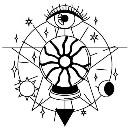 Magic illustration with ball of fate and eye. Mystic, alchemy, spirituality and tattoo art. Isolated vector print. Black and white magical simbol.