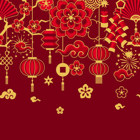 Happy Chinese New Year ceamless pattern. Background with oriental symbols. Asian tradition elements.