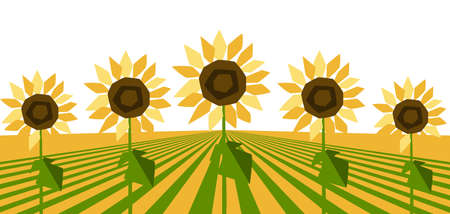Background with ripe stylized sunflowers. Harvested agricultural field.