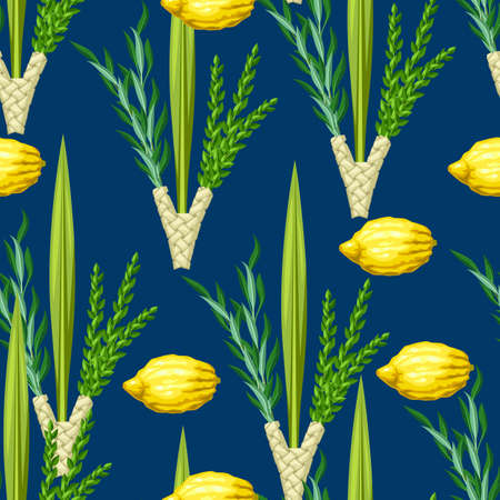 Happy Sukkot seamless pattern. Holiday background with Jewish festival traditional symbols. Four species etrog, lulav, willow and myrtle branches.