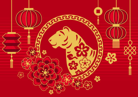 Happy Chinese New Year greeting card. Background with tiger symbol of 2022. Asian tradition elements.