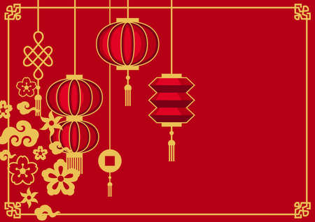 Happy Chinese New Year greeting card. Background with oriental symbols. Asian tradition elements.