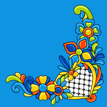 Decorative element with mexican talavera pattern. Decoration with ornamental flowers. Traditional tile objects. Ethnic folk ornament.