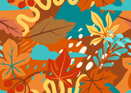 Seamless floral pattern with autumn foliage. Background of falling abstract leaves. Ilustrace