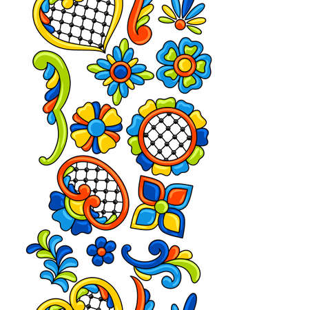 Mexican talavera seamless pattern. Decorative background with ornamental flowers. Traditional tile decorative objects. Ethnic folk ornament.