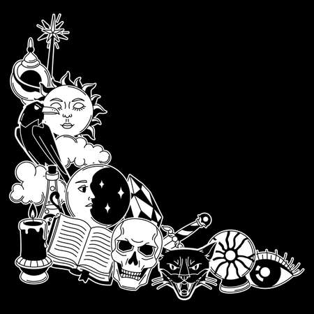 Magic background with mystery items. Mystic, alchemy, spirituality symbols. Cartoon magical design. Ilustrace