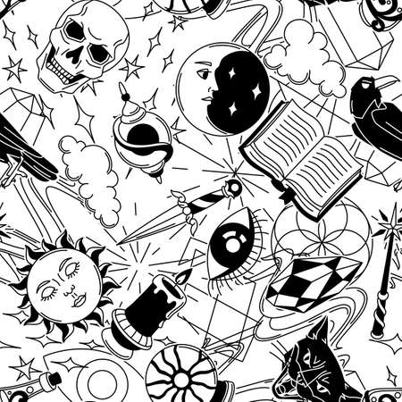 Magic seamless pattern with mystery items. Mystic, alchemy, spirituality symbols. Cartoon magical background.