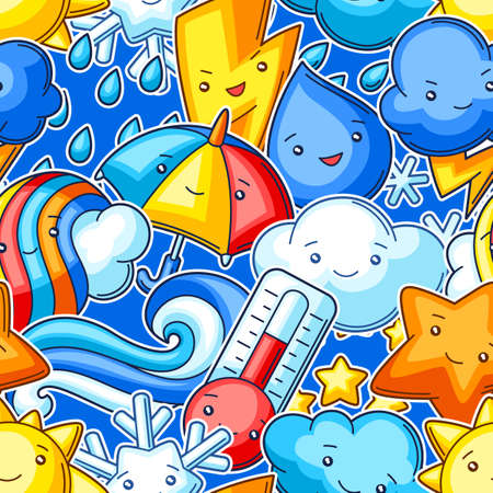 Seamless pattern with cute kawaii weather items. Funny seasonal child illustration. Cartoon stylized characters.