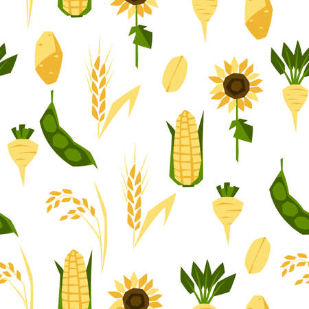Seamless pattern with agricultural crops. Harvesting background. Vegetables and cereals.