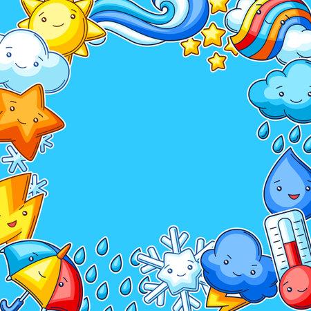 Background with cute kawaii weather items. Funny seasonal child illustration. Cartoon stylized characters. Ilustrace