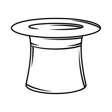 Illustration of cylinder hat. Black and white stylized picture. Icon for design and decoration.