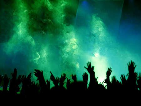 foule mains: Concert Crowd Black et Light green Banque d'images