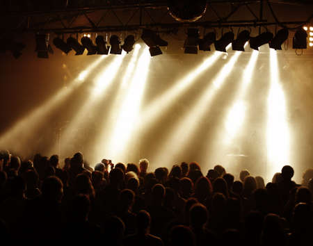 Crowd in front of the stage at a concert, golden light and white beams