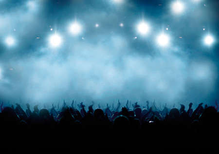 Black Concert Crowd and White-blue Light Stock Photo