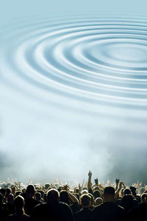 symbolic bass-waves and concert or party crowd Stock Photo