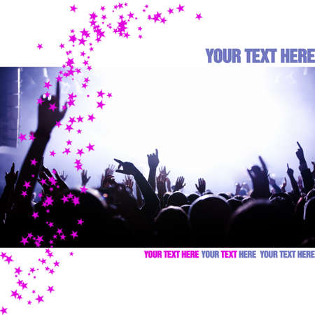 flier: Template or flier layout with concert crowd and pink stars, copy space