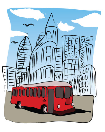 Red bus resembling a street car in the downtown area of the city. Ilustração