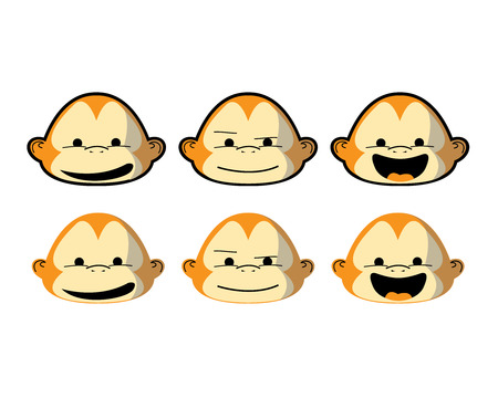Monkeys face in various emotions and styles. Çizim