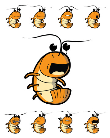 Orange shrimp character in various facial expressions and emotions.