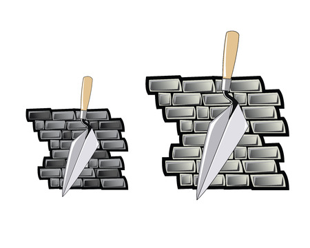 trowels: Brick layers trowel in front of a grey brick wall. Comes in two tones of brick color. Illustration