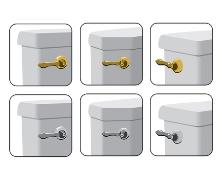 Toilet Tank Levers in Various Mounting Options 向量圖像