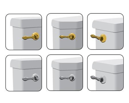 Montage: WC-Tank-Hebel in verschiedenen Montagem�glichkeiten Illustration