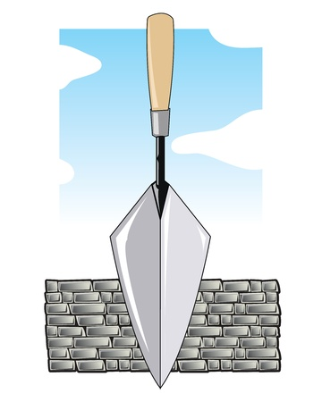 Brick layers trowel in front of a grey brick wall and blue sky Ilustração