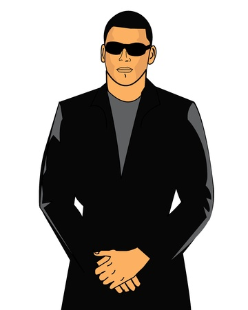 Bouncer in a black suit and sun glasses
