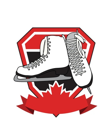 Crest with banner, maple leaf, and ice skates. Vector