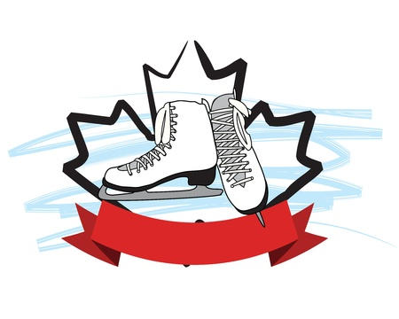 Ice skates with banner and large maple leaf in the back.