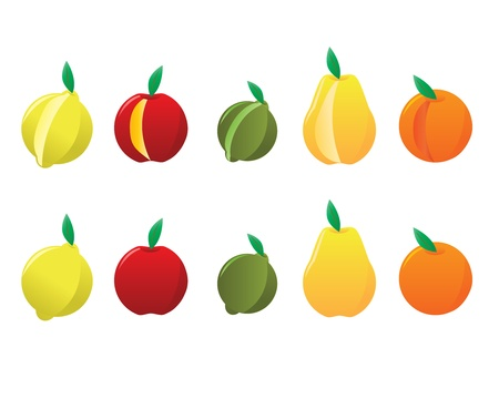 Whole and Cut Lemons, Apples, Limes, Pears, and Oranges.  Çizim