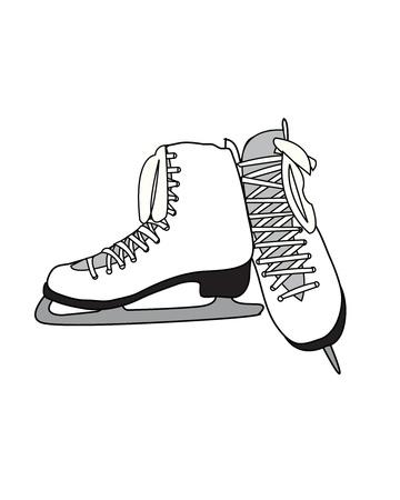 White Pair of Figure Skates 일러스트