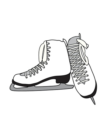 figure skates: White Pair of Figure Skates Illustration
