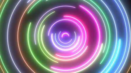 Neon Circle Ring Halo Loops Glow Bright Colors and Spin Slowly - Abstract Background Texture 版權商用圖片
