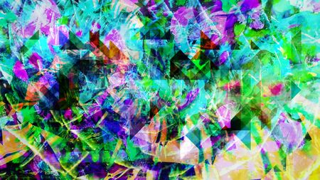 Psychedelic Rotating Shattered Rainbow Spiral Tunnel - Abstract Background Texture