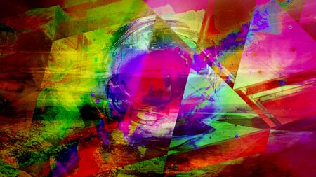 Pulsating Rainbow Orb Behind Glass Triangles Radiating Colors - Abstract Background Texture