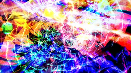 Colorful Rainbow Spiral and Frozen Unmoving Thunderbolt - Abstract Background Texture