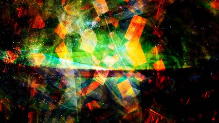 Rising Glowing Geometric Shapes with Flowing Starscape - Abstract Background Texture