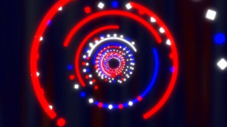 Fly through Red White and Blue Fourth of July Abstract Glow Tunnel - Abstract Background Texture