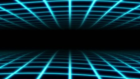Retro Wavy Grid 80s Synthwave Neon Net Waves in Aesthetic Vaporwave - Abstract Background Texture